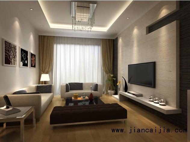 为了能让现代简约客厅的色彩更为立体,可考虑选用木色偏重的柜子或桌