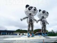 济源 火车站广场不锈钢熊猫雕塑 镂空熊猫摆件定制