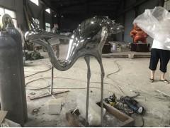 厦门 园林景观鹤雕塑 不锈钢镜面动物定制工厂