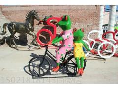 寧波 創意抽象騎車青蛙雕塑 玻璃鋼園林景觀青蛙擺飾